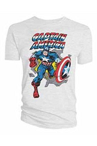 Captain america -  T-shirt - Uomo Bianco X-Large