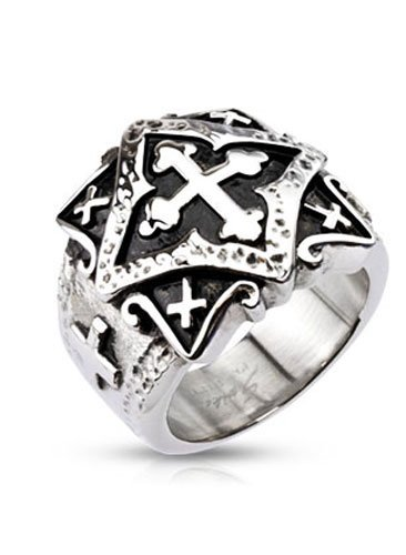 Stainless Steel Centered Cross With Ornamental Multi Cross Plate Wide Cast Ring, Width 20Mm - Crazy2Shop