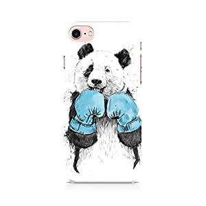 Motivatebox- Panda Boxer Apple Iphone 7 cover -Matte Polycarbonate 3D Hard case Mobile Cell Phone Protective BACK CASE COVER. Hard Shockproof Scratch-
