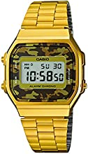 Casio Men's Quartz Watch with Grey Dial Digital Display and Gold Stainless Steel Bracelet A168WEGC-5EF