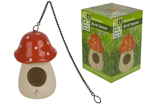 red-polka-dot-large-pottery-bird-house-mushroom-bird-house-with-hanging-chain