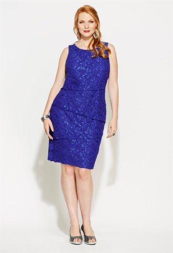 Avenue Plus Size Tiered Sequin & Lace Dress, Royal Blue 14