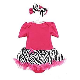 com: Flowerbb Baby Girl's Rose Zebra Set Clothes Dress B03 L: Clothing