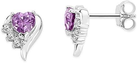 Byjoy 925 Sterling Silver Heart Shape Alexandrite Stud Earrings BAE404E