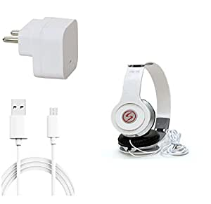 13Tech 1 Amp Charger+1.5 mtr Copper (Data Transfer+Charging) Cable +VM46 Headphones for Micromax Canvas Nitro