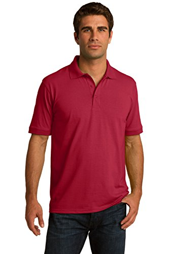 Sportoli Men's Cotton Blend Solid Everyday Uniform Short Sleeve Polo Shirt Top - Red (Large)