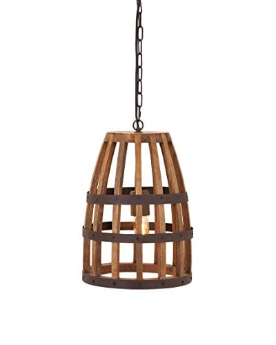 Foley Wood Cage Pendant Light, Natural As You See