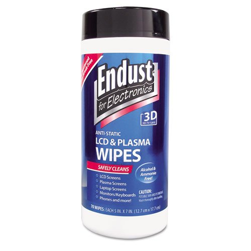 Endust® – Antistatic Cleaning Wipes, Premoistened, 70/Canister – Sold As 1 Each – Specially formulated to safely clean LCD and Plasma screens, notebooks, keyboards, touch screens, handheld electronics and other office equipment.