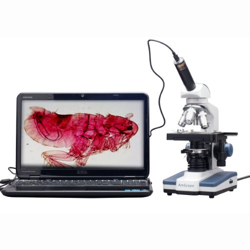 AmScope M620C-E1 Digital Compound Monocular Microscope, WF10x and WF25x Eyepieces, 40x-2500x Magnification, Brightfield, LED Illumination, Abbe Condenser, Mechanical Stage, 110V, Includes 1.3MP Camera and Software