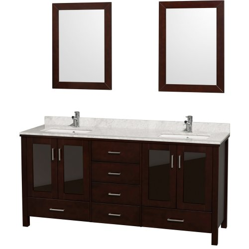 Lucy Double Bathroom Vanity In Espresso With White Carrera Marble Top With White Undermount Sinks front-453897