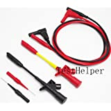 TestHelper Silicone Test Lead with Heavy Duty Insulation Piercing Test Clip, Fully Insulated Quick Piercing Test Clips Multimeter Test Probe Spring Load