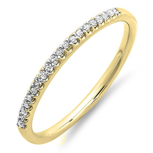 0.15 Carat (Ctw) 10K Yellow Gold Round Cut Diamond Ladies Dainty Anniversary Stackable Band (Size 8)