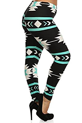 Leggings Depot Women's Plus Size Leggings Aztec Print Mint