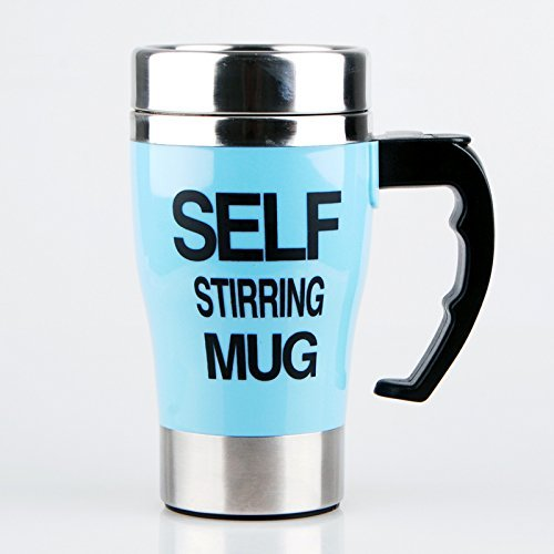 Alytimes Coffee Mug - Self Stirring, Electric Stainless Steel Automatic Self Mixing Cup - Cute & Funny, Best for Morning, Travelling, Men and Women (blue)