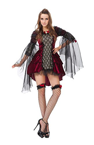 Dilefasion Women's Halloween 5 Piece Dancing Masquerade Vampire Queen Costume