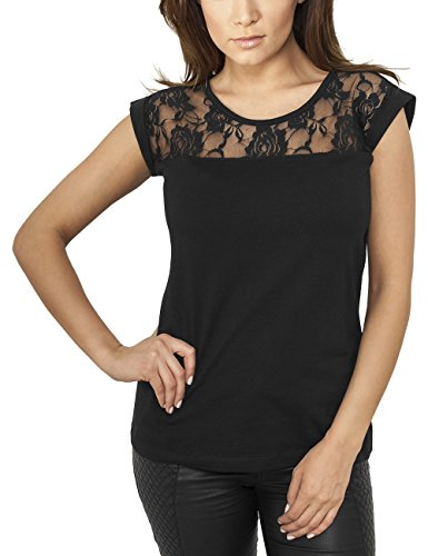 Urban Classics Ladies Top Laces Tee, T-Shirt Donna, Nero (Black 7), 40