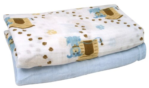 Stephan Baby Cotton Muslin Swaddle Blankets Gift Set, Solid Blue/Dog, 2 Piece - 1