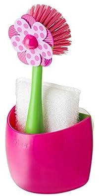 Vigar Lolaflor Pink Sink Side Set, 9-Inches, Pink, White, Green