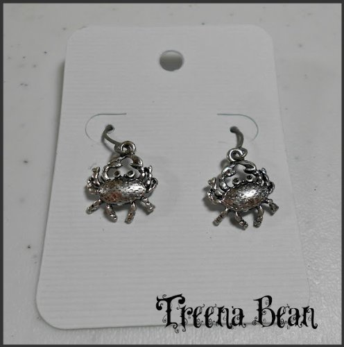 Treena Bean Retro Silver Crab Earrings