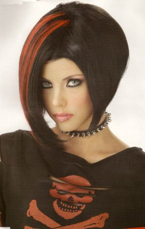 Adult Black/Red Mod Mood Swing Costume Wig