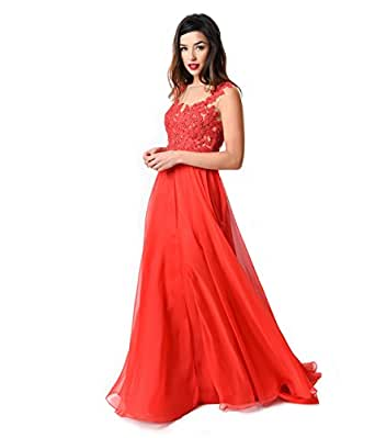 Red Beaded Lace Mesh Cap Sleeve Long Dress 2016 Prom ...