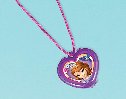"Amscan Sofia the First Lip-Gloss Necklace Disney Party Favors, Violet, 1 1/4"" x 1 1/4"""