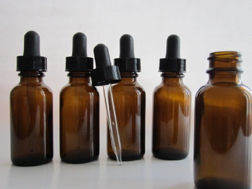 1Oz Amber Glass Bottles For Essential Oils With Glass Eye Dropper - Pack Of 6