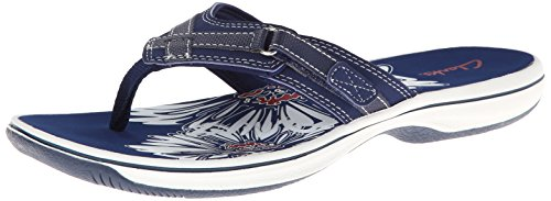 Clarks Women's Breeze Sea Flip Flop,Navy,9 M US