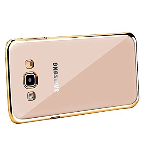 newest collection 95509 ae771 WebKreature Gold Bumper with Silicone Transparent Back Cover for Samsung  Galaxy J3