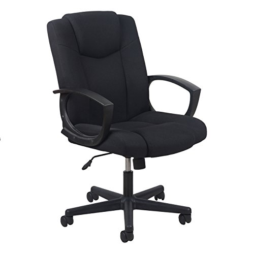 Essentials by OFM Swivel Upholstered Task Chair with Arms, Black Arm Swivel Office