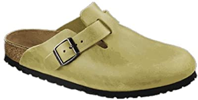 Birkenstock Clogs ''Boston'' from Leather in Antique Olive with a regular insole