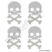 Silver Skull and Cross Bone Bicycle Reflector Reflective Sticker Decal