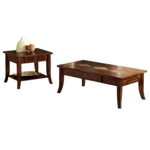 Buy Low Price Bernards Cathedral Cherry With Metal Accents Coffee Table Set B0072qsnli