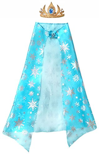 Elsa Snowflake Cape and Gold Coronation Crown Tiara Non Slip Headband Costume