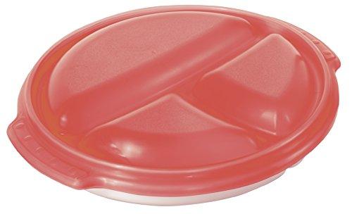 """Rotho Piatto per microonde """"Micro Clever"""" per menu - Piatto con 3 scomparti e coperchio ermetico - Contenitore per microonde privo di BPA - Lavabile in lavastoviglie - bianco/rosso"""