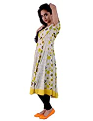 Pure Nautanki Yellow/lime Long Kali Kurta With Being Mix & Matter Of Prints & Solid