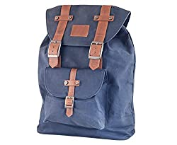 AUDEN blue Canvas Backpack Bag with genuine leather straps