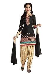Pandadi Creation Women's Cotton Black Color Dress Material with Naznin Dupatta ( Rs.50 Off )