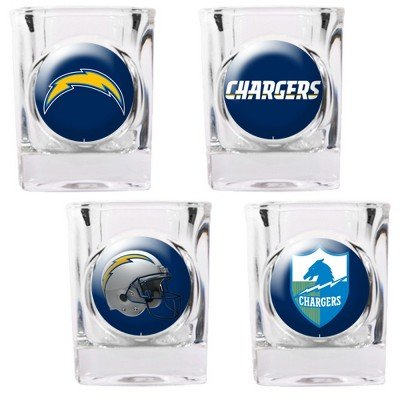 San Diego Chargers - 4 Piece Square Shot Glass Set W/Individual Logos