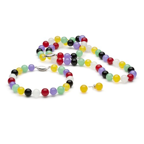 Sterling Silver 8 mm Multi-Colored Polished Jade Bead Necklace, Bracelet and Stud Earrings Set, 18