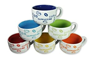 Francois et Mimi 14-Ounce Colored Ceramic Coffee/Soup Mugs, Large, Coffee Lover, Set of 6