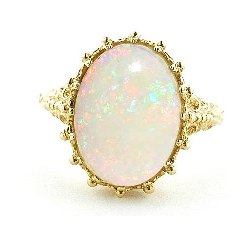 9ct Yellow Gold Ladies AAA Large Colourful Opal Ring - Free Delivery - Finger Sizes L to Z Available
