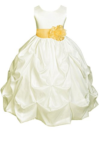 Amj Dresses Inc Girls Ivory/Yellow Flower Girl Pageant Dress Size 4