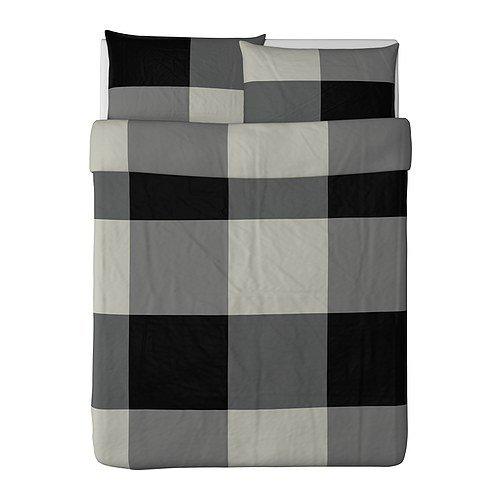 Best Deal Ikea Brunkrissla Duvet Cover and Pillowcase, Black/Gray
