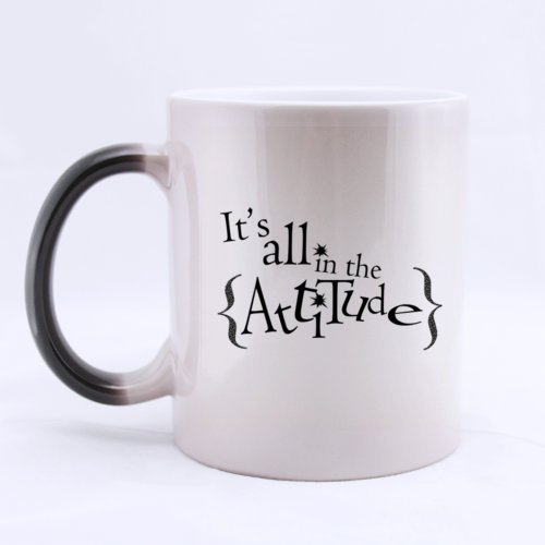 Ceramic Morphing Mug With Belief It'S All In The Attitude 11 Ounces Heat Sensitive Color Changing Mug - Great Gift Idea