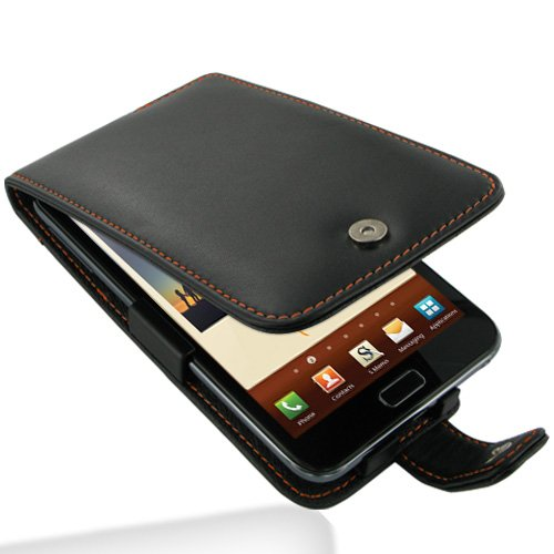Pdair Leather Flip Case Cover Samsung Galaxy Note AT&T N7000 Black Orange Stitches