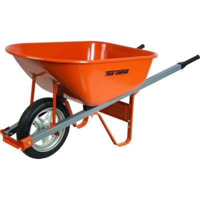Steel Wheelbarrow with Steel Handles and Flat Free Tire, 6 Cu. Ft.