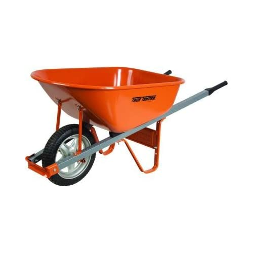 Steel Wheelbarrow with Steel Handles and Flat Free Tire, 6 Cu. Ft.