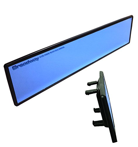 JDM Universal Broadway 300mm Flat Blue Tinted Interior Clip On View Mirror DOE (Toyota Yaris 2007 Mirror compare prices)