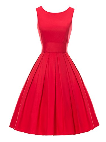 LUOUSE 'Lana' Vintage 1950's Inspired Rockabilly Swing Dress Red FBA Small